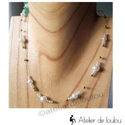 achat collier doré | acheter collier perle blanche