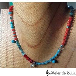 collier Swarovski turquoise   collier rouge orange