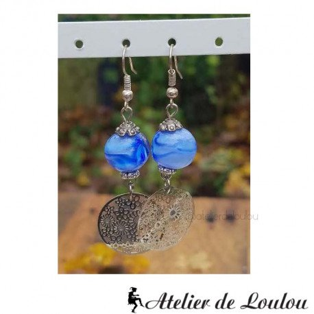 achat boucle oreille bleu | boucle spirale bleu