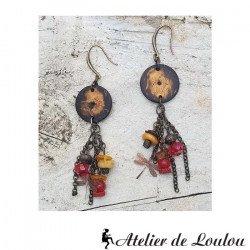 Boucle oreilles naturelles | bijou ambre artisan
