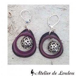 Achat bijou violet | acheter boucle oreille artisanale