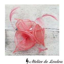 chapeau saumon| broche mini chapeau vintage