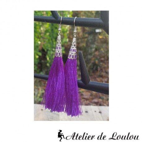 boucle violet | acheter boucles pompon