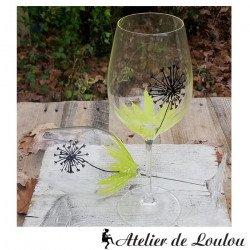 acheter verre vin peints main | verre à vin fleur