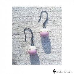 acheter boucles d'oreilles verre filées perles | achat bijou rose et gris