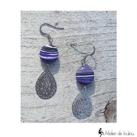 achat boucles d'oreilles mauve | bijou pierre violet
