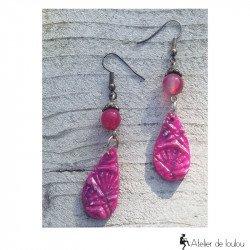 boucles oreilles rose fushia | boucle agate rose