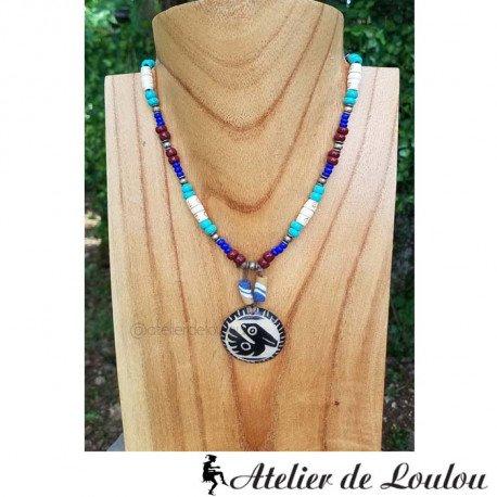 collier bleu   acheter collier ethnique