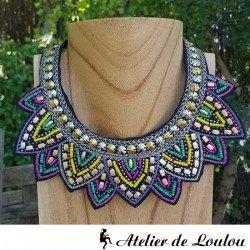 achat collier indien   collier feutrine brodée