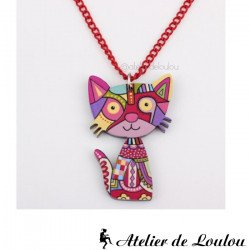 Achat collier chat multicolore