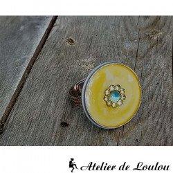 Acheter bague résine inclusion tons jaunes
