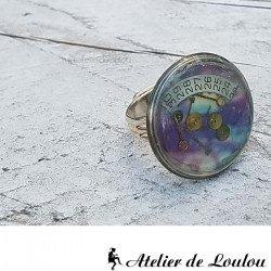 Acheter bague résine inclusion steampunk violet