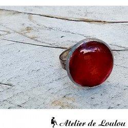 Bague résine rouge | bague réglable|red ring