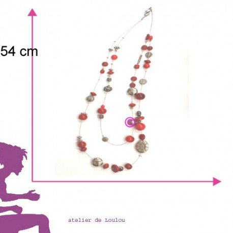 collier rouge | red necklace | perle rouge