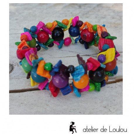 Achat bracelet multicolore bois et graines