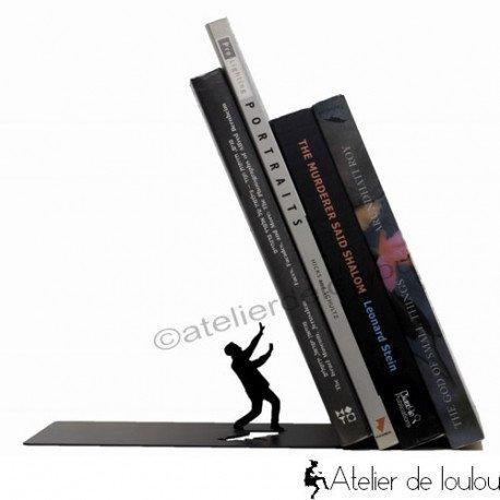 Serre-livres Book & Hero | Geek super-héros unique en métal noir | achat serre livre