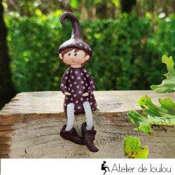 Achat figurine fait main lutin position assise