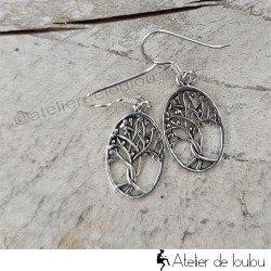 achat boucles d'oreilles arbre de vie | bijou arbre de vie argent