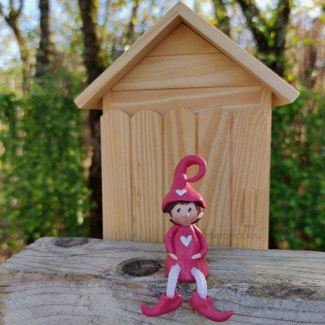 Achat lutin pendant fait maison rose
