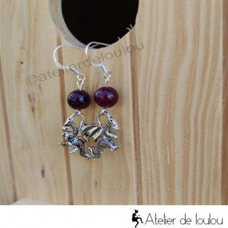 Bijou artisanal   purple agate earing