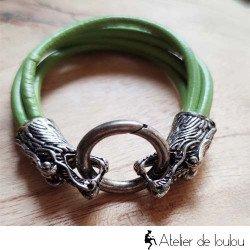 Bracelet vert têtes de dragons