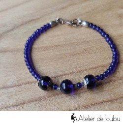 Achat bracelet bleu grande taille fait main