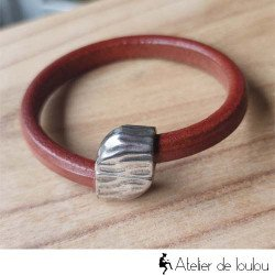 Achat bracelet cuir large fermoir aimanté
