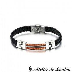 Acheter bracelet homme tressé métal