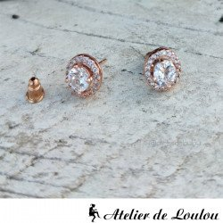 achat boucles clou metal or rose strass