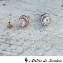 Boucles d'oreilles strass rose or