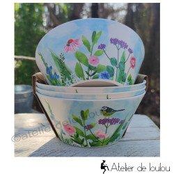 Acheter bols en bambou jardin et mésanges