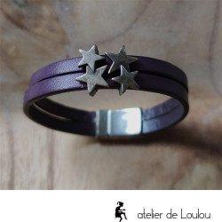 Achat bracelet cuir violet étoiles