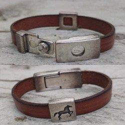 Achat bracelet cuir motif cheval   bracelet cuir ado