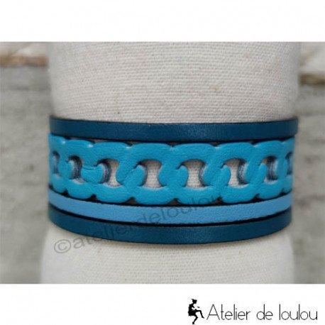 Bracelet cuir manchette bleu