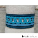Bracelet manchette cuir bleu