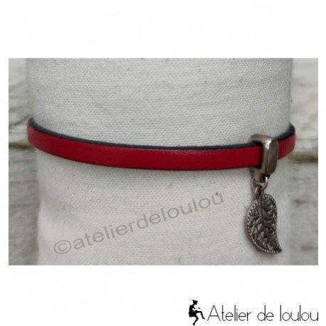 Acheter bracelet cuir rouge feuille