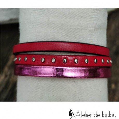 Bracelet cuir manchette rose