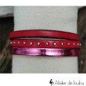 Bracelet manchette cuir rose