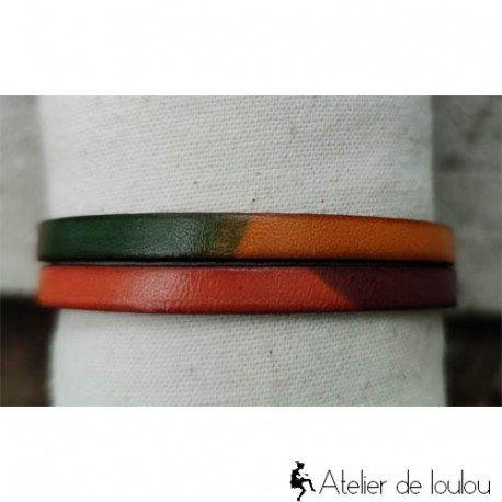Achat bracelet cuir multi couleurs