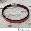 Bracelet cuir rouge vintage