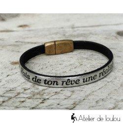 Acheter petit bracelet cuir fais de ton rêve une réalité