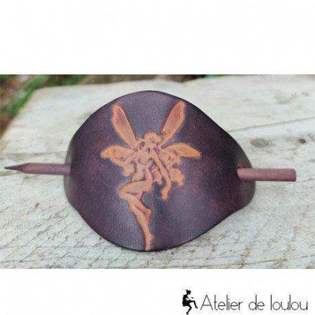 Achat barrette cheveux en cuir motif fée