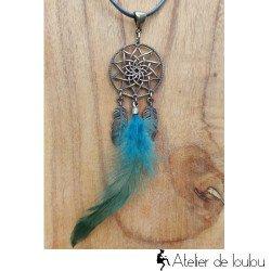 Achaeter collier attrape rêves cuir plumes