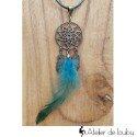 Collier attrape rêves plume bleu