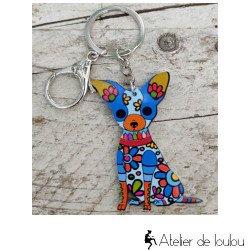 Achat porte clé chien multicolore