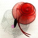 chapeau bibi mariage rouge et noir